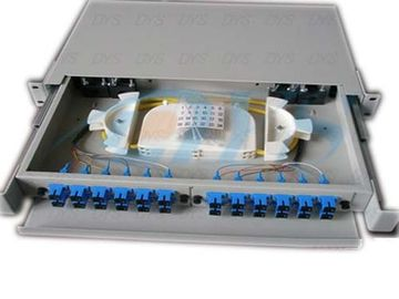 SC Beige Fiber Optic Odf , 24 Aluminium Port Fiber Optic Patch Panel